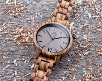 Premium wood watch, unisex wooden watch. Real Zebrawood. Any Engraving. Gift box included. Insert wallet card. Gift for him. Groomsman gift.