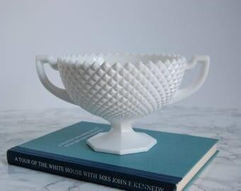 Vintage Milk Glass Footed Bowl - Fruit Bowl - Diamond Hobnail Milkglass - Cottage Chic Anthropologie Decor
