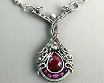 Ruby Sterling Silver Pendant Necklace, Art Nouveau Necklace, Fantasy Necklace, Gypsy Necklace, Goth Necklace, Witch Jewelry