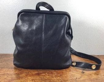 Tignanello Black Leather Sling Bag, Shoulder Bag, Gold Tone Hardware, Top Handle