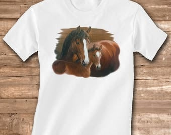 Bay Mare and Foal on Short or Long Sleeve White T-Shirt