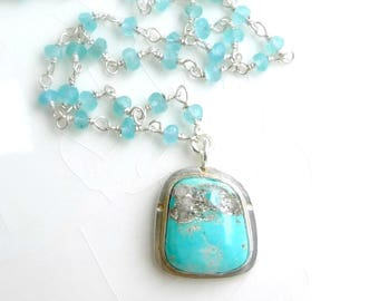 Turquoise and Apatite Necklace - Blue Gem Turquoise with Iron Pyrite Specs, Gorgeous Blue Apatite Bead Chain
