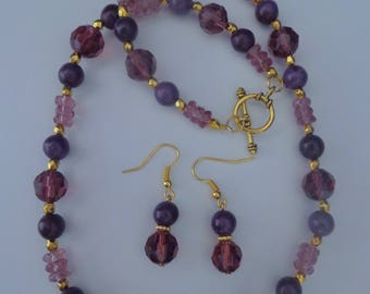 Purple Necklace Set,Purple Beaded Necklace, Purple Earrings,Purple Jewelry,Amethyst Jewelry,Purple and Gold Necklace Set,February Birthday