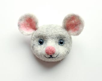 Mouse brooch; Needle felted brooch mouse head