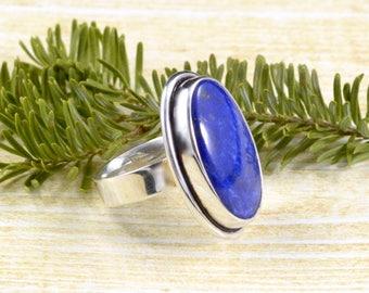 Double Bezel Oval Lapis Lazuli Ring // Lapis Lazuli Jewelry // Sterling Silver // Village Silversmith