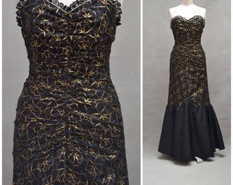 Vintage dress, 1980's fishtail dress, Black / gold lace evening / party dress, 80's bustier dress with wiggle silhouette, Power dressing