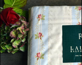 Ralph Lauren Vintage Twin Flat Sheet / Discontinued / New In Package / Rosebud Stripe / Shabby Chic Ralph Lauren Bedding