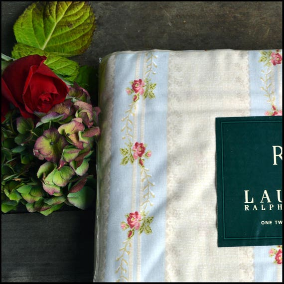 Ralph Lauren Vintage Twin Flat Sheet / Discontinued / New In Package / Rosebud Stripe / Shabby Chic Ralph Lauren Bedding