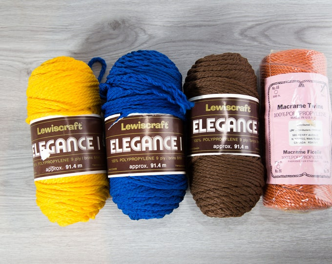 Vintage Macrame Twine / Lewiscraft Elegance Polypropylene 9 Ply / Made in Canada / Colorful Yarn