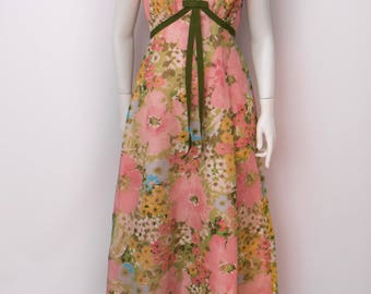 Maxi dress, Stepford Wives, garden party gown, 60's floral maxi dress