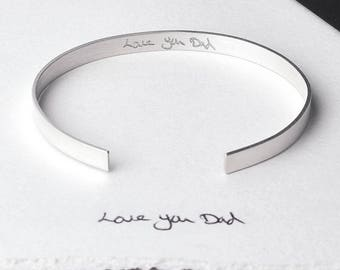 Men's Slim Personalised Cuff Bracelet - actual handwriting engraved cuff - sterling silver bangle - Father's Day gift - child's handwriting