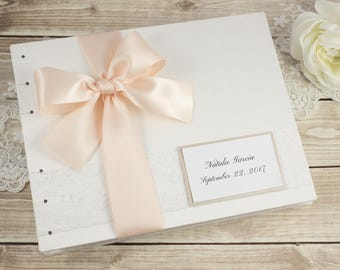 Wedding Guest Book, Unique Wedding Guestbook, Ivory Wedding Guest Book, PIvory and Pink, Blush, Elegant Guest Book, Custom Made For You