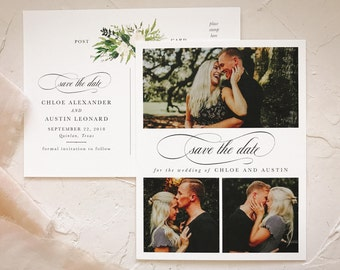 Greenery Save the Date Postcards | Elegant Barn Wedding
