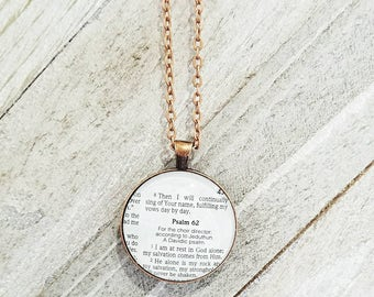 Psalm 62:1-2/Vintage Necklace Pendant/Gift for Her/Gift for mom/Gift for Wife/Christian Jewelry/Vintage Jewelry/Custom Jewelry