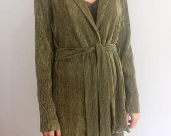 Golden green longline blazer