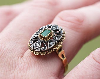 Antique Emerald Ring with Diamonds in Two Tone Gold Open Filigree .36ctw