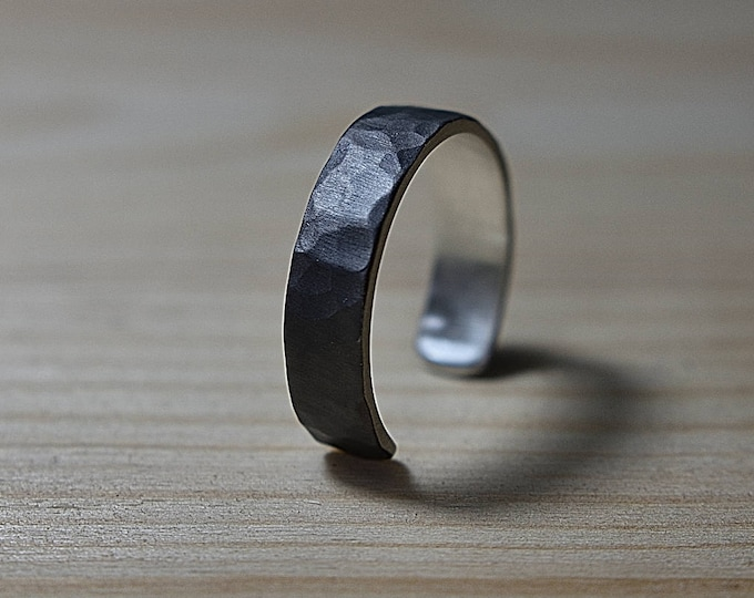 Featured listing image: Adjustable Mens Black Silver Wedding Band Ring. Black Silver Wedding Band Ring Tree Bark imitation. Mens Adjustable Rustic Silver Band Ring