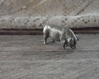 Miniature Collectible Pewter Pig Figurine