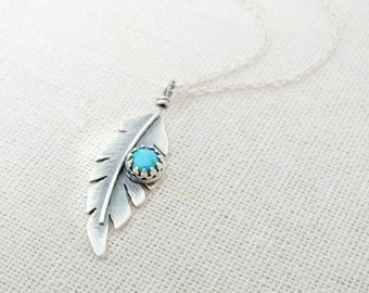 Sterling Silver Feather Necklace, Boho Silver Feather Necklace, Textured Silver Feather Pendant, Turquoise Feather Necklace