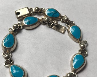 """Turquoise Sterling Bracelet 7.25"""" 925 Silver Blue Mexico Mexican Vintage Southwestern Jewelry Birthday Anniversary Christmas Gift Taxco Boho"""