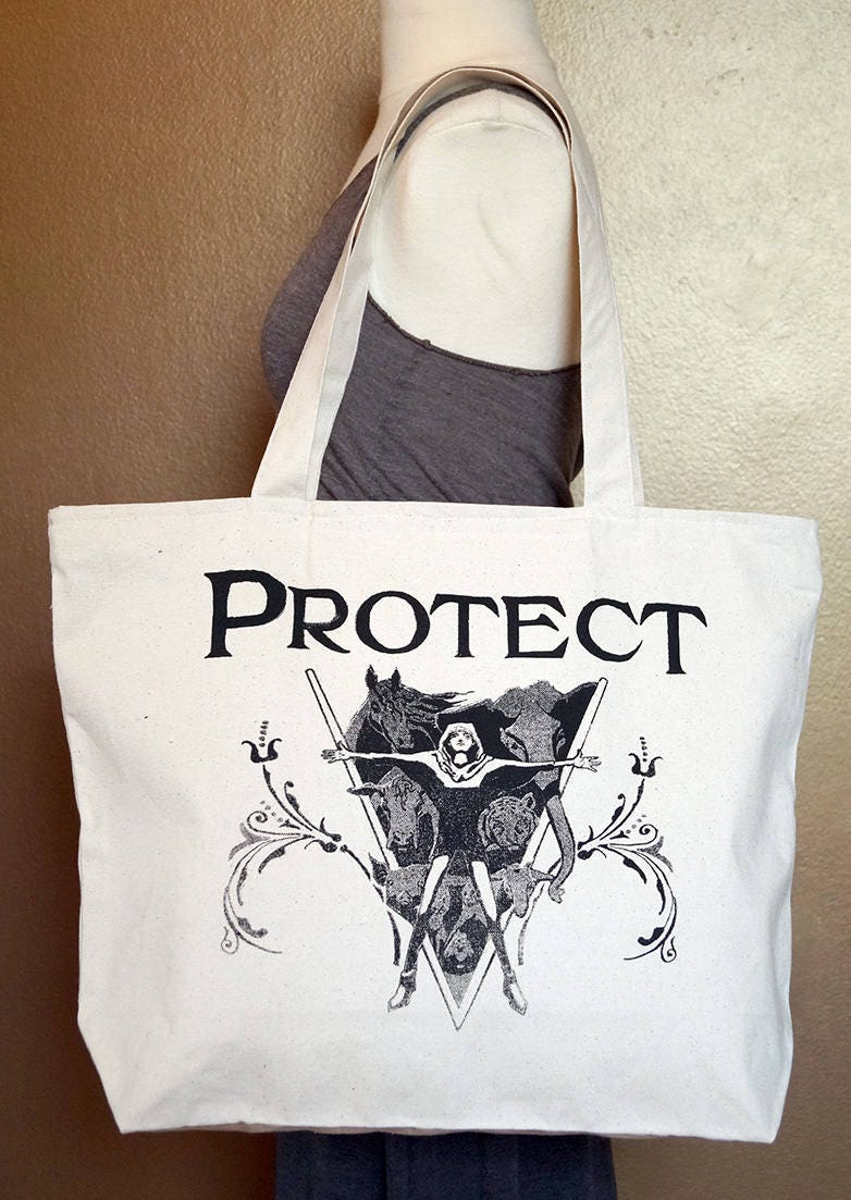 "Zippered Tote Bag ""Protect"" Black Ink on Natural Cotton"