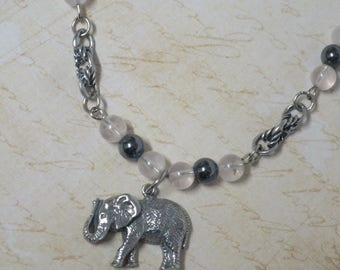 Elephant necklace with Rose Quartz and Hematite beads CCS162