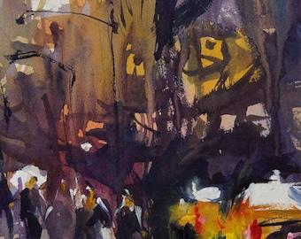 Original Watercolor Cityscape Painting, Urban Art, Expressive Watercolor Artwork