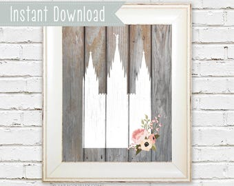 Instant Download Salt Lake Temple 8x10 Art Print, floral, silhouette, rustic, wood, printable, LDS temple, wedding gift