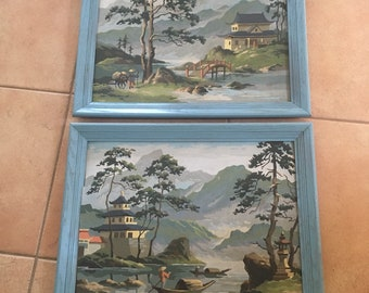 Vintage Pair of Large Asian Landscape Paint by Numbers Framed Paintings
