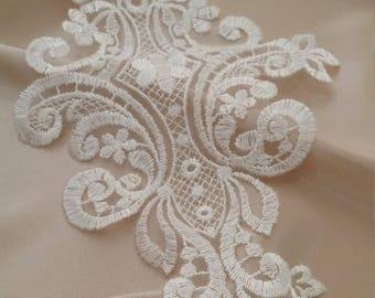 Ivory Lace applique, Ivory lace, French Chantilly lace applique, 3D lace, bridal applique, Applique M0044