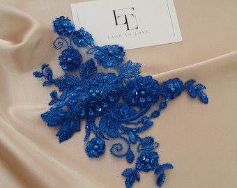Blue applique, Beaded lace applique, French Chantilly lace applique, 3D bridal lace applique, M0048