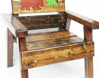 Childrens Furniture Kids Wood Chair, Preschool Furniture, Toddler Boy Or  Girl Folk Art Bear