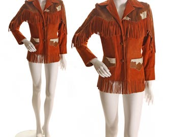 1950s Rust Red Leather Suede Brown Cowhide Womens Fringe Jacket by Trego's Westwear -L