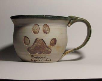 Wildlife Paw Print Mug-Bobcat