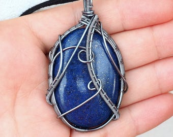 Lapis Lazuli Wire Wrapped Necklace/Antique Silver Wire Pendant/Handcrafted Jewelry/Anniversary Gift/Birthday Gift