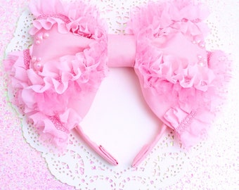 Lolita head bow-pink bow-oversized bow-Hime Gyaru-Princess-Magical Girl-Angelic Pretty-Lolita accessory-Sweet Lolita-Lace-Ruffles-Kawaii