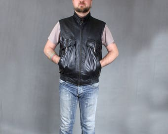 Vintage Black Soft Leather Bomber Vest, 80s Men's Motorcycle Waistcoat, Zipper Up Biker Grunge Metal Steampunk Sleeveless Jacket, Sz M to L