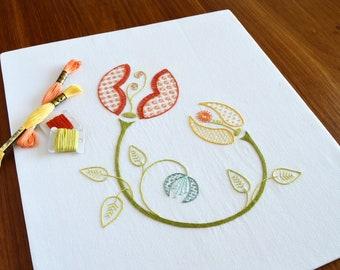Buds of May hand embroidery pattern, modern embroidery, embroidery patterns, summer, floral embroidery PDF, PDF pattern