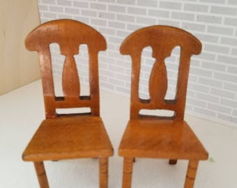 Dollhouse Miniature Wood Chairs 1:12 scale