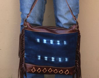Brown Leather Fringe Purse - Ethnic Leather Purse - Indigo Mud Cloth - Brown Leather Purse with Fringe