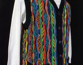 Authentic Coogi Sweater Vest (Size Men's Medium?), Green, Red, Orange, Purple, Blue, Hip Hop, Cosby, Huxtable Vest, Great Colors