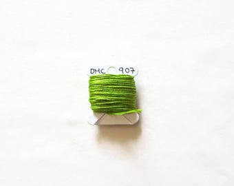 Bright lime green embroidery thread,  DMC 907, stranded embroidery floss, cross stitch supplies, stranded cotton