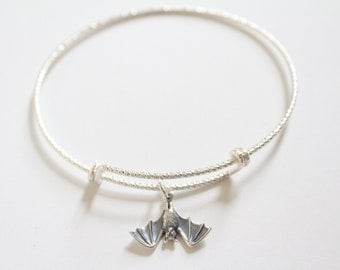 Sterling Silver Bracelet with Sterling Silver Bat Charm, Bat Bracelet, Bat Charm Bracelet, Silver Bat Charm Bracelet, Bat Pendant Bracelet