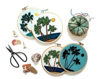 Out of Retirement! August Palms Pattern Contemporary Embroidery PDF -#skbdiy Pattern Program:digital Download