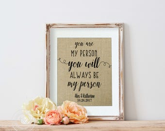 You're My Person Burlap Print, Girlfriend gift, Greys Anatomy, Prints, Valentines Gift for Best Friend, Valentines Day Gift for her