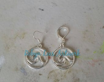 Small Silver Sea Ocean Tidal Wave Round Outline Charm Earrings on Silver Earring Hooks or Leverbacks. Surfer, Nautical