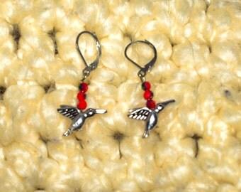 Lever Back Red Beaded Hummingbird Earrings