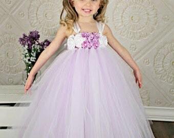 Flower Girl Dress, Lavender and White Tutu Dress, 1st Birthday Dress