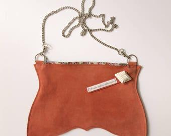 Pochette en cuir nubuck orange, pochette porté épaule, pochette bandoulière, petit sac