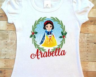 Snow White Shirt, Christmas Shirt, Personalized Christmas Shirt, Holiday Shirt, Snow White, Princess Shirt, Girls Shirt, Toddler Shirt